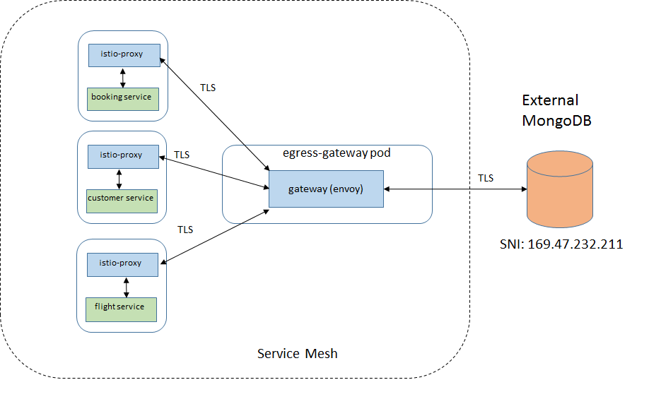 Introduction of the egress gateway to access MongoDB
